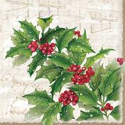 Christmas Paper Luncheon Napkins 2x20 Pcs 13x13 Sprig Of Holly