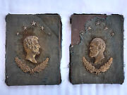 19th C. Lincoln And Garfield Bronze Gilt Metal Bas Relief Wall Plaque Wood/cloth