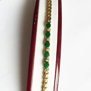 Oval Green Jade Women Bracelet Bangle 14k Solid Yellow Gold - 7 Inches - B43