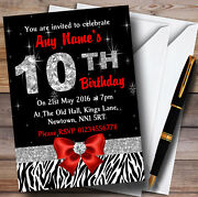 Red Diamond And Zebra Print 10th Birthday Party Personalised Invitations