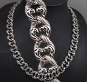 32 330g Heavy Tribal Curb 925 Sterling Silver Mens Biker Necklace Chain Pre