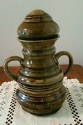 VINTAGE ART POTTERY HAND THROWN STONEWARE POT VASE URN GREEN BROWN UNSIGNED NICE