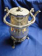 Silver Plated Kettle Beautiful Shape Engraved Victorian 1860 Cast Feet