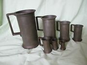 Antique French Jr 7 Piece Set Pewter Measuring Cups Tankards Litre Europe Metric