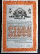 Territory Of Hawaii Improvement Bond Specimen W/ Coupon Attached Xf Pahv81