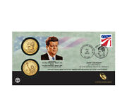 2015 John F. Kennedy One Dollar Coin Cover - 2 Coins Pandd With Stamp - Ship Today