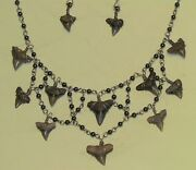 Sterling Sharkand039s Teeth Hematite Handcrafted Necklace Buy From The Artist Horus