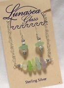 Lunasea Treasures Sea Glass Multi Pastels Pearl Sterling Silver 15 Neck Ear Set