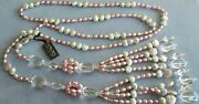 Honora Long Light Pink White Pearls Pools Of Light Crystal Rope Necklace Tag