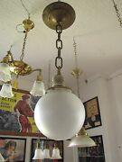 Antique Industrial Pendulum Light W/ Porcelain Socket And Frosted Shade 3236