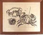 Maine Artist Barse Miller 1904-1973 Soluble Ink Wash Crabs And A Sea Urchin