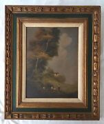 18th/19th Century Continental School O/c Painting. Bucolic Landscape W Figures