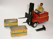 Vintage Rare German Battery Operated Toy Tin Car Forklift Stagor Ms Veb 1950's