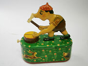 Vintage Tin Toy Mechanical Coin Bank House Foreign Money Box Woodcutter 1950's