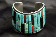 Old Pawn Navajo Sterling Silver Natural Turquoise Bracelet By Mtr 925 - Wow