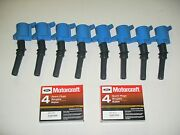 Set Of 8 Heavy Duty Ignition Coil Blue Dg508 And 8 Motorcraft Plugs Sp479 New