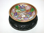 Beautiful Chinese Cloisonne Relief Pin Plate On Wood Stand