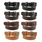 1 3/4 Heavy Duty Leather Work_gun Belt Stitched_2 Prong Buckle_amish Handmade