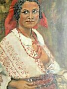 Antique 19c. Rare Romanian Oil Canvas Painting Young Gipsy Women Ethno