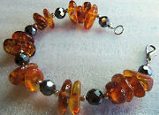Qvc Gorgeous Amber And Hematite Bracelet 7and3/4 Inch Estate Jewelry Unworn