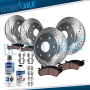 Brake Pad Rotor Ford F-150 Front Rear Drilled Slotted Rotors And Brakes Pads