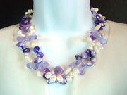 Beautiful Cultured White Lavendar Purple Pearl Crystal Layer Necklace Honora
