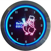 Barbecue Neon Clock Sign Bbq Pig Pork Smokehouse Smoker Grille Grill Wall Lamp