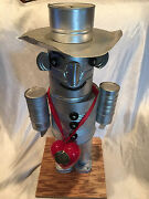 Vintage Wizard Of Oz Tin Man Folk Art Robot Of Tin Cans 25 Tall Handcrafted