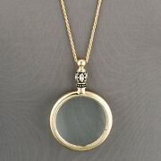 Antique Gold Chain 5 X Magnifying Glass Design Pendant Necklace