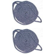 2 Pack Of 1/2 X 20 Ft Navy Blue Double Braid Nylon Mooring And Docking Lines