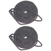 2 Pack Of 5/8 Inch X 30 Ft Black Double Braid Nylon Mooring And Docking Lines