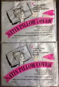 Lot Of 2 Vintage Pillowcases Satin Pillow Covers Standard Size Nos New Usa