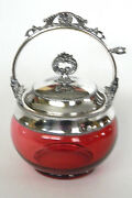Antique Victorian Cranberry Glass Jam And Honey Jar With Silverplate