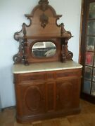 Vintage Victorian Carved Walnut Sideboard White Marble Fancy 48 Inch Wide