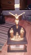 1904 Vintage Wooden And Brass Crucifix With Revolving Scroll