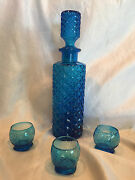 Collectible Rare Cobalt Blue Glass Decanter Bottle W/3 Shot Glasses 13 Tall