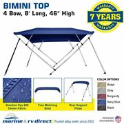 New Bimini Top Boat Cover 4 Bow 46 H 73 - 78 W 8 Foot Navy Blue