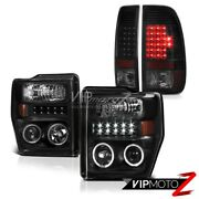 08 09 10 Ford F250 F350 F450 Black Headlights Smd Led Halo Led Tail Lights Lamps