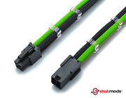 4 Pin 30cm Black And Green Atx Cpu Mobo Sleeved Extension Shakmods + 2 Cable Combs