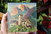 Lovely Antique Oil Painting On Tile Caucasian Mountains Signed A.f. 19th Cent
