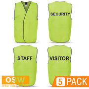 5 X Hi Vis Unisex Day Safety Security/visitor/staff Printed Tricot Vests