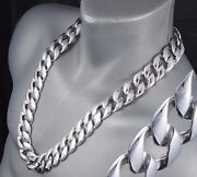30 437g Biker Heavy Huge Curb Links Chain 925 Sterling Silver Mens Necklace Pre