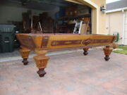 Antique 1870and039s 9and039 J E Came Billiard Pool Table  Rare Model