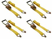 4 Pc 2 Inch X 15and039 Ft Ratchet Tie Down Cargo Straps 5000 Lbs J Hooks