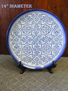 "EXTRAORDINARY  Large Round PLATTER- COLLECTIBLE  14"" Diam. ASIAN INSPIRED"