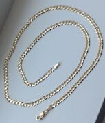 14k Solid Yellow Gold 3mm Cuban Link Chain Necklace Men Women Size 16-36