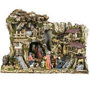 Nativity Village Stable With Fountain 80x110x70cm