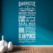Barbecue Rules Never Touch Another Manand039s Grill Vinyl Wall Decal Quote L179