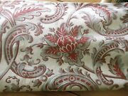 Antique French Acanthus Artichoke Floral Scroll Cotton Fabric Red Blue Gray