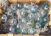 Japanese Glass Fishing Floats 2 Mixed Lot-20 10 Netted 10 W/o Net Display Decor